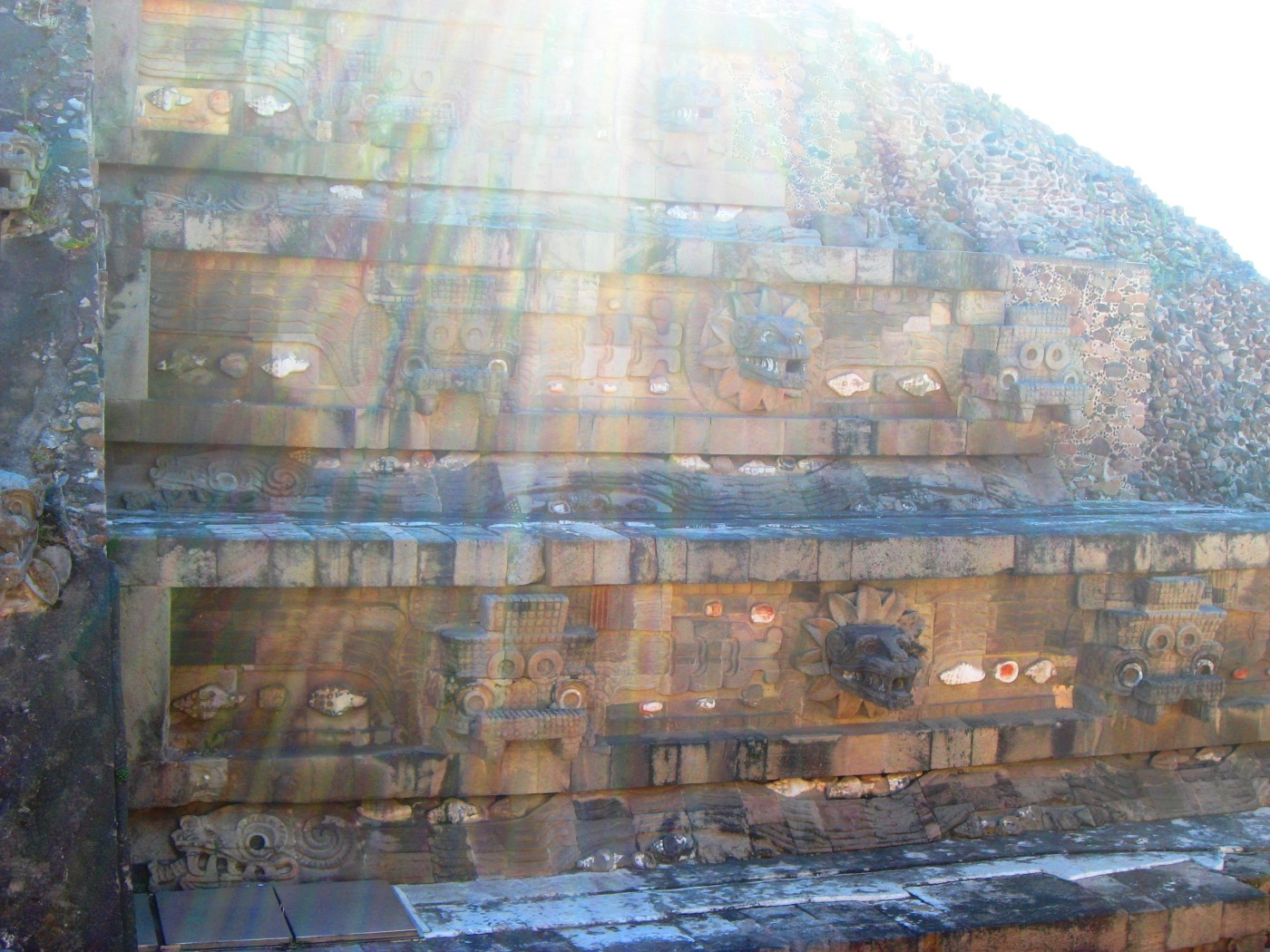 Sunshines over ancient pyramid symbols at Mexico Teotihuacan Ancient Illumination copyright