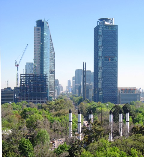 Mexico City's financial district rises above the city.